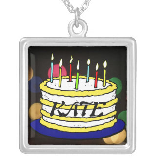 Bright Birthday Cake and Candles Square Pendant Necklace