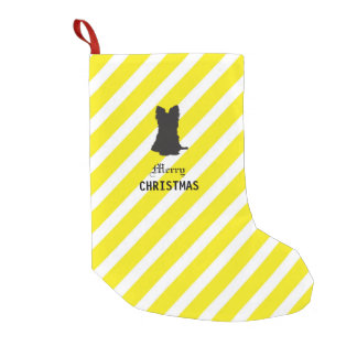 Bright Black and Yellow Yorkshire Terrier Small Christmas Stocking