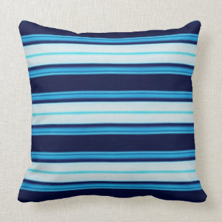 Bright Blue and Aqua Striped Nautical inspired T Cushion