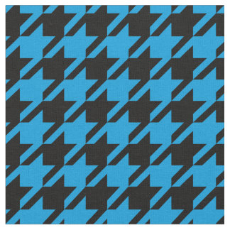 Bright Blue and Black Houndstooth Fabric