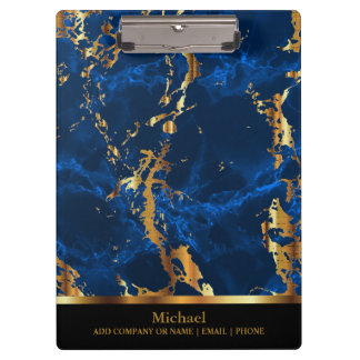 Bright Blue  and Gold Marble Pattern Design Clipboard