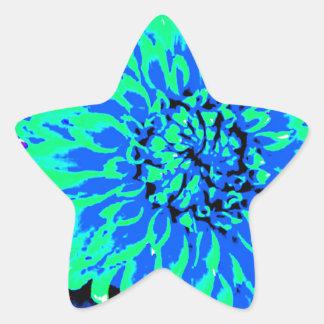 bright blue and green dahlias in mason jar star sticker