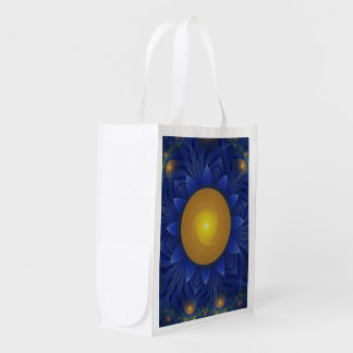 Bright Blue and Orange Water Lily Fractal Lotus Reusable Grocery Bag