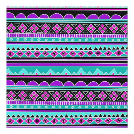 Bright Blue and purple tribal pattern Poster