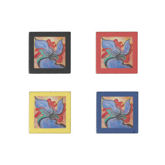Bright Blue and Red Abstract Flower Kitchen Magnet