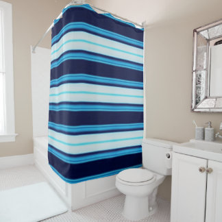Bright Blue and Teal Striped Nautical Inspired Shower Curtain