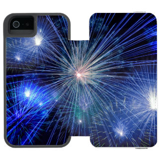 Bright Blue and White Fireworks Incipio Watson™ iPhone 5 Wallet Case