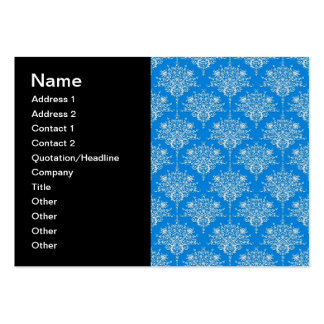 Bright Blue and White Floral Damask Pack Of Chubby Business Cards