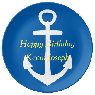 Bright Blue and White With Yellow Happy Birthday Porcelain Plate