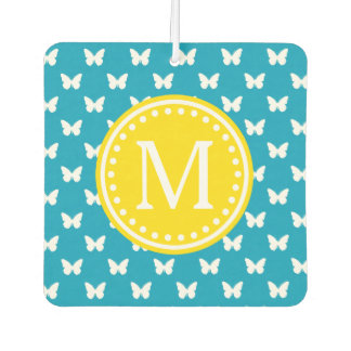 Bright Blue and Yellow Butterfly Monogram