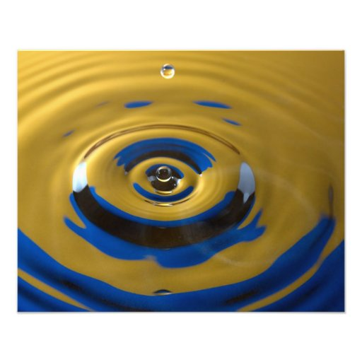 Bright Blue and Yellow Water Drop Photo Print