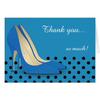 Bright Blue, Black Polka Dots and Red Pumps Note Card