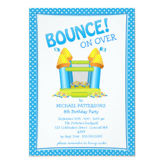 Bright Blue Bouncy House Birthday Party Invitation