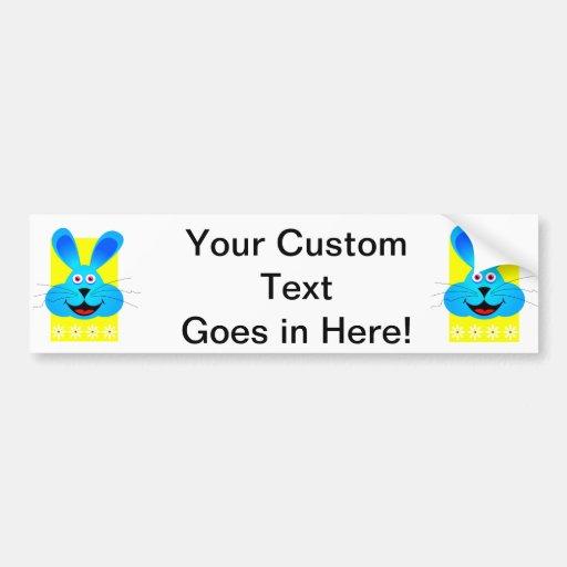 bright blue bunny head yellow back bumper stickers