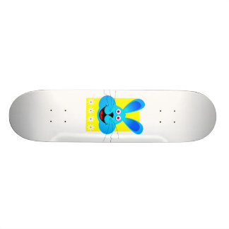 bright blue bunny head yellow back skate boards