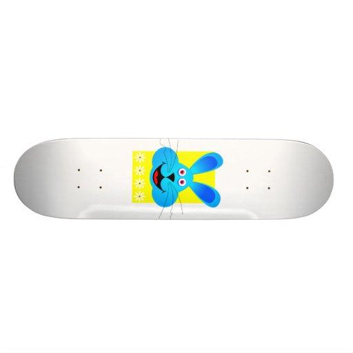 bright blue bunny head yellow back skate boards