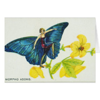 Bright Blue Butterfly Girl Card
