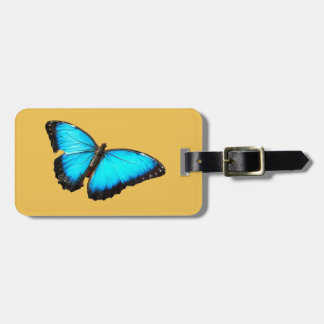 Bright blue butterfly luggage tag