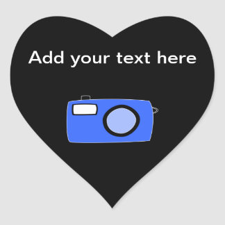 Bright Blue Camera. On Black. Heart Sticker