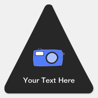 Bright Blue Camera. On Black. Triangle Sticker