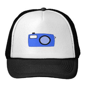Bright Blue Camera On White Trucker Hats