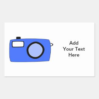 Bright Blue Camera. On White. Rectangle Sticker