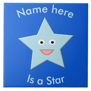 Bright Blue Celebration Star Custom Tile
