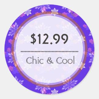 Bright Blue Christmas Snowflakes Price Tag Round Sticker