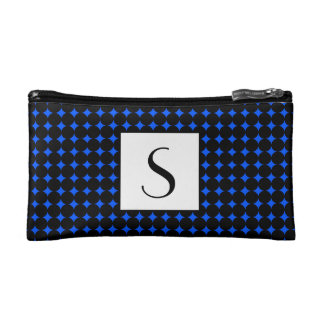 Bright Blue Circle Pattern Border Monogram Makeup Bag