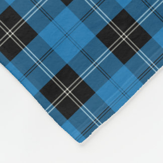 Bright Blue Clan Ramsay Hunting Tartan Fleece Blanket