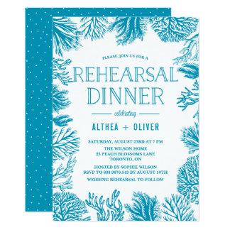 Bright Blue Corals Frame Nautical Rehearsal Dinner Card