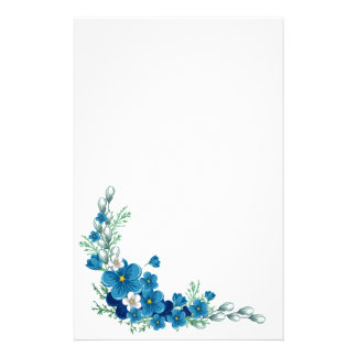 Bright Blue Decorative Spring Flowers Stationery