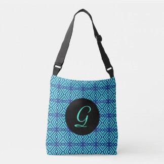Bright Blue Diamond Pattern Crossbody Bag