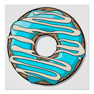 Bright Blue Donut with Icing Poster