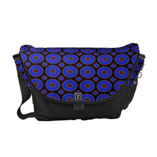 Bright blue fancy circles commuter bags