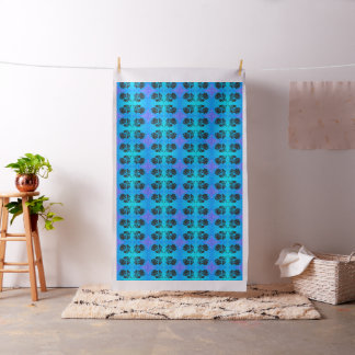 """Bright Blue Floral Fabric Rose Silhouette 56"""""""