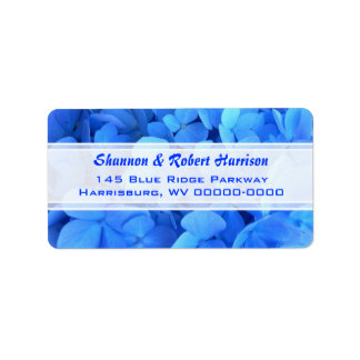 Bright Blue Floral Hydrangea Return Address Label