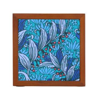 Bright Blue Floral Pattern Desk Organiser