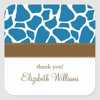 Bright Blue Giraffe Pattern Square Sticker