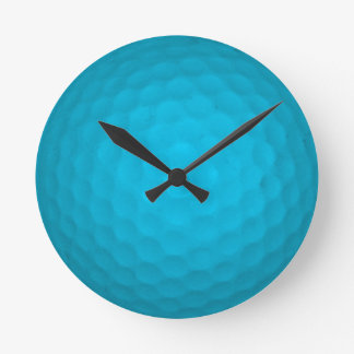 Bright Blue Golf Ball Round Clock