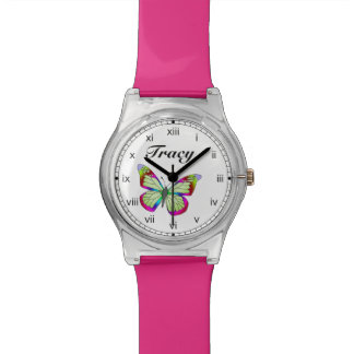 Bright blue green and pink whimsical water colored watch