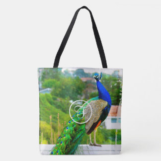 Bright blue green peacock photo custom monogram tote bag