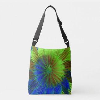 Bright Blue Green Star Burst Crossbody Bag