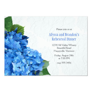 Bright Blue Hydrangea Rehearsal Dinner Invitation