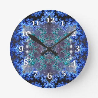 Bright Blue Kaleidoscope Round Clock