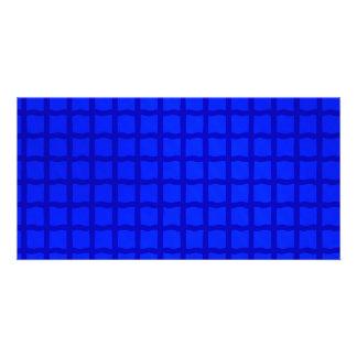 Bright Blue Lattice Pattern Customised Photo Card