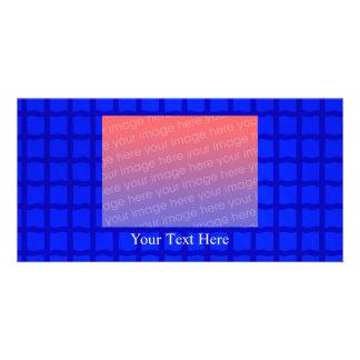 Bright Blue Lattice Pattern Custom Photo Card