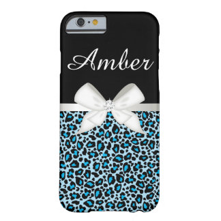 Bright Blue Leopard Print and Ribbon iPhone 6 Case