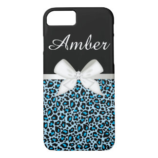 Bright Blue Leopard Print and Ribbon iPhone 7 Case