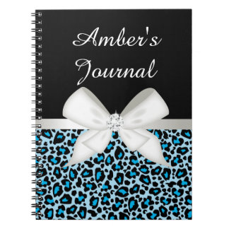 Bright Blue Leopard Print and Ribbon Notebooks